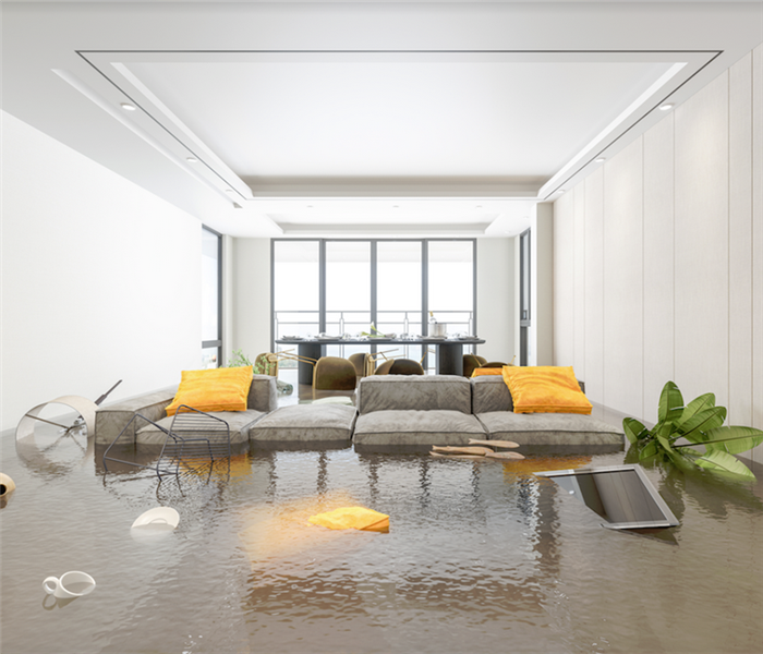 a flooded living room with items floating everywhere